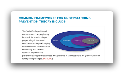 Common frameworks for understanding prevention theory