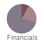 A pie chart with the word Financials under the chart.