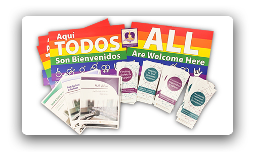 Image featuring free materials posters, brochures, and  a magnet
